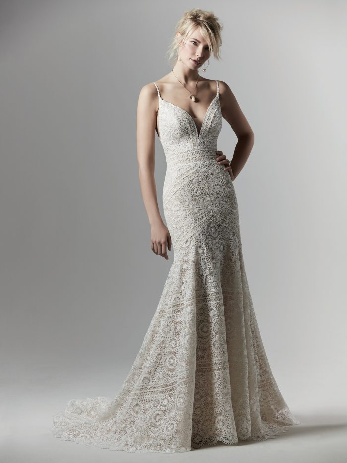 Model Wearing Geometric Lace Sheath Wedding Dress by Sottero and Midgley