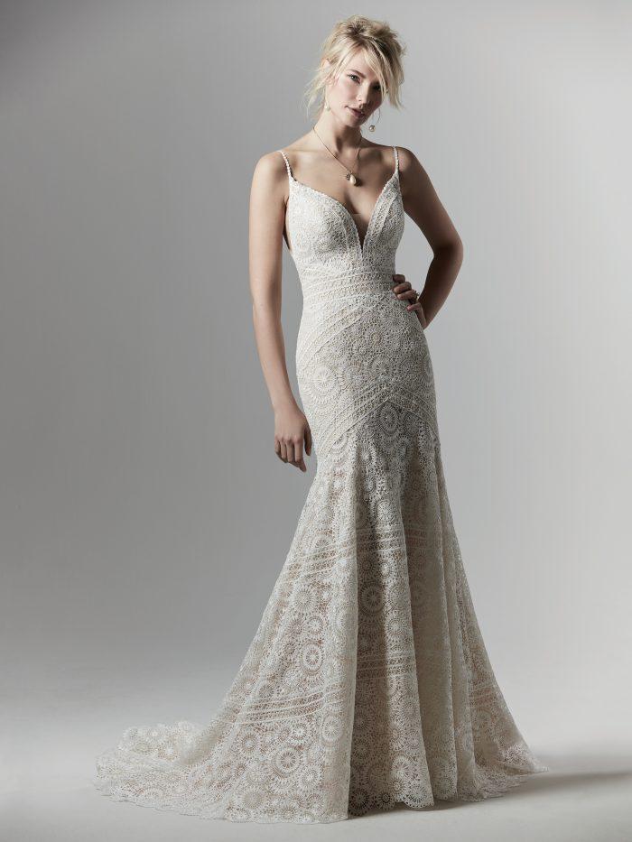 Model Wearing Geometric Lace Sheath Wedding Dress by Sottero and Midgley