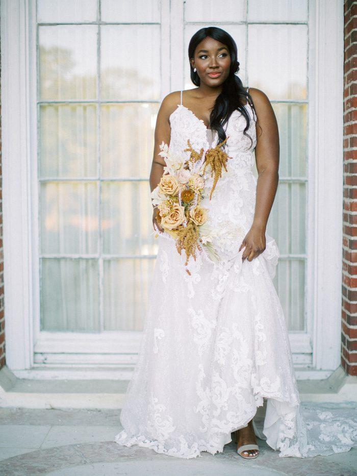 Bride Wearing Sheath Wedding Dress Called Tuscany Lane by Maggie Sottero