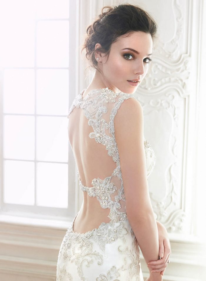 Bride Wearing Mermaid Wedding Gown with Keyhole Back by Maggie Sottero