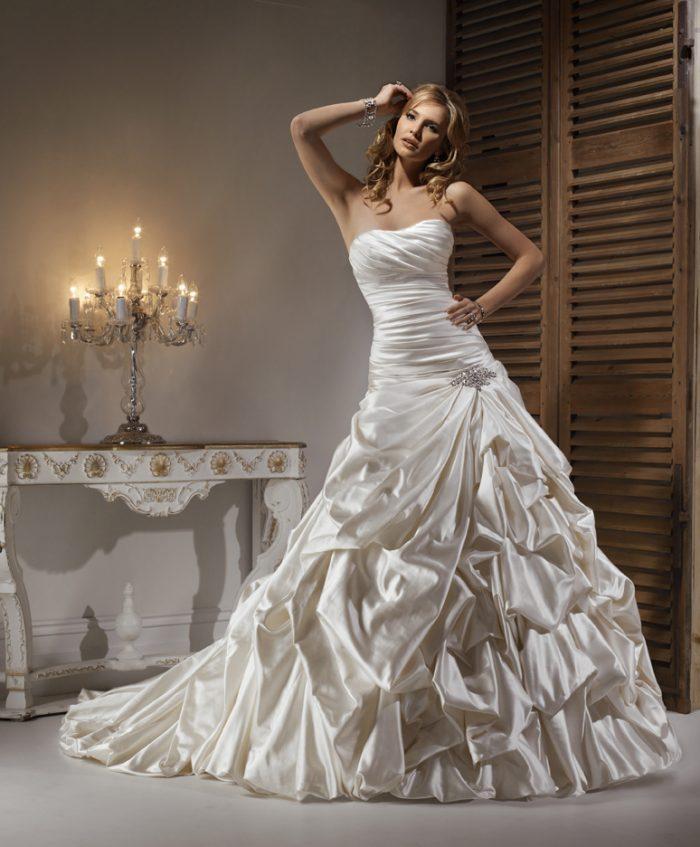 Model Wearing Drop Waist Wedding Dress by Maggie Sottero