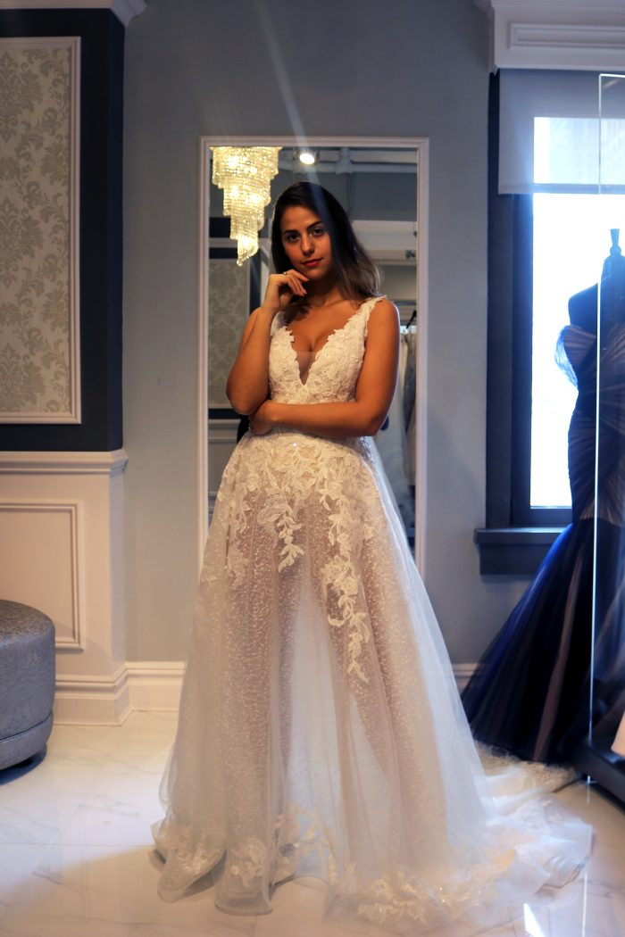 Real Bride Influencer Wearing Sheer A-line Wedding Dress Called Carmella by Maggie Sottero