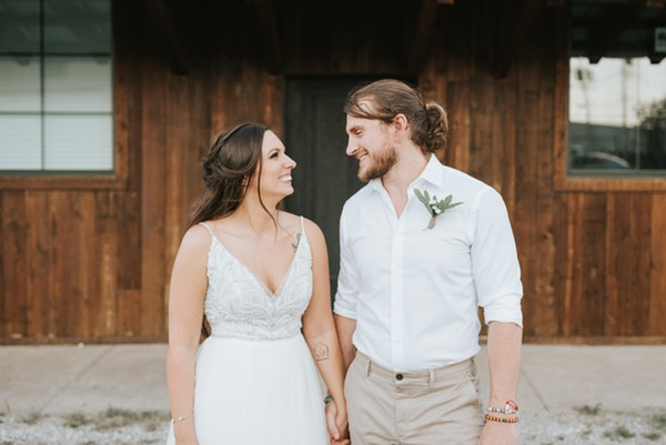 Groom with Real Bride Wearing Boho Wedding Dress Called Charlene by Maggie Sottero