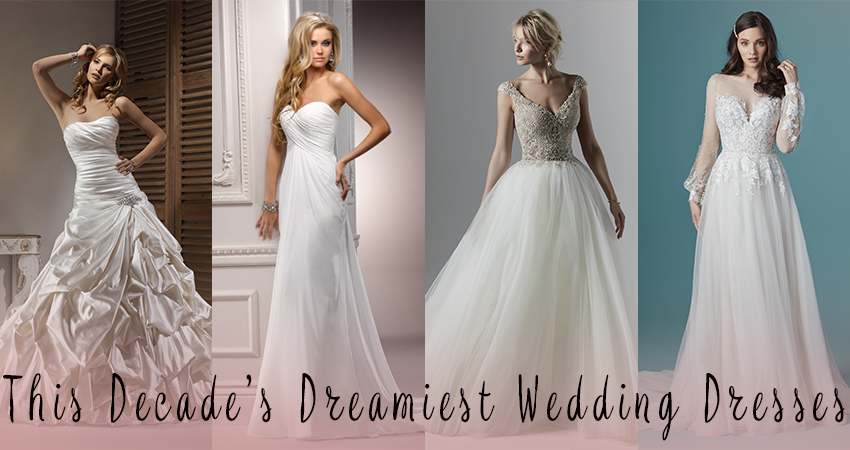A Collage of Four Wedding Dress from the 2010s Decades by Maggie Sottero