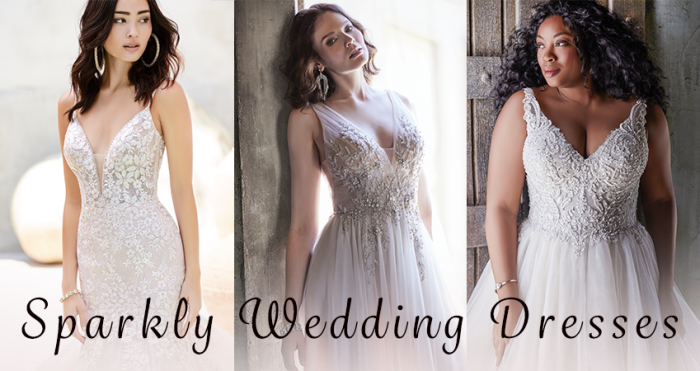 Collage of Models Wearing Sparkly Wedding Dresses by Maggie Sottero