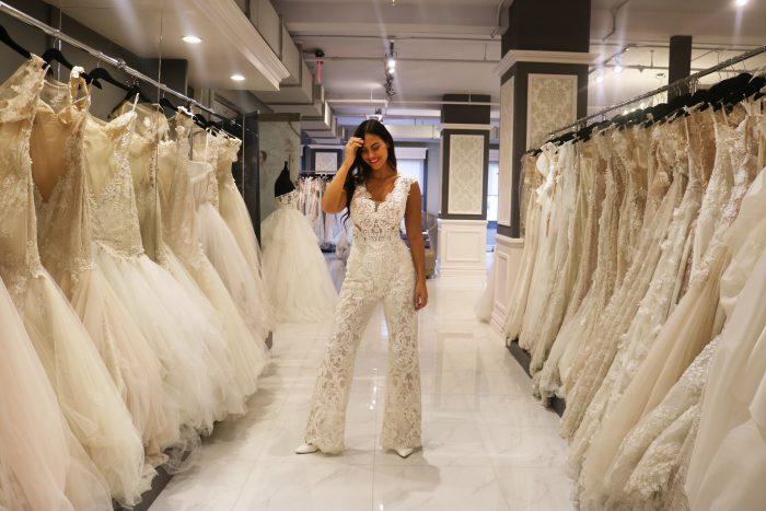 Influencer wearing casual wedding dress jumpsuit