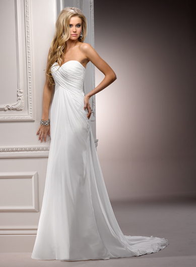 Model Wearing Strapless Wedding Dress Called Erin by Maggie Sottero