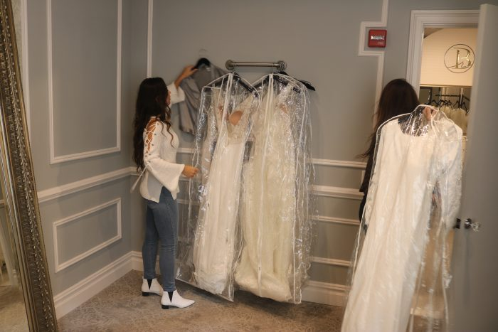 Influencer bride shopping for her wedding dress