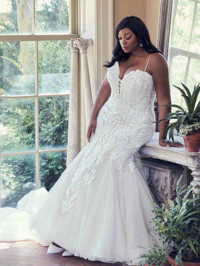 Model Wearing Plus Size Mermaid Wedding Dress Called Alistaire Lynette by Maggie Sottero