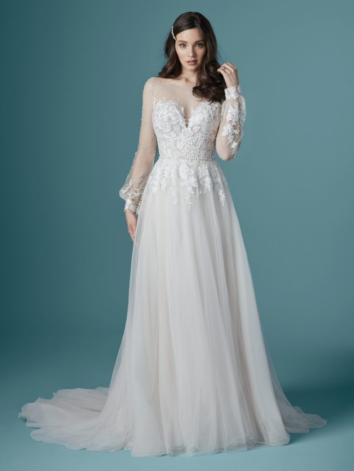 Model Wearing Boho Illusion Long Sleeve Wedding Gown Called Pamela by Maggie Sottero