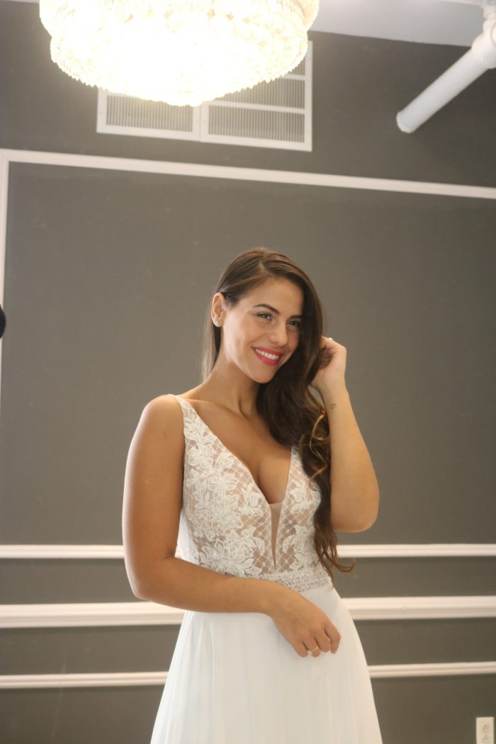 Real Bride Trying On Mildred Wedding Gown by Rebecca Ingram