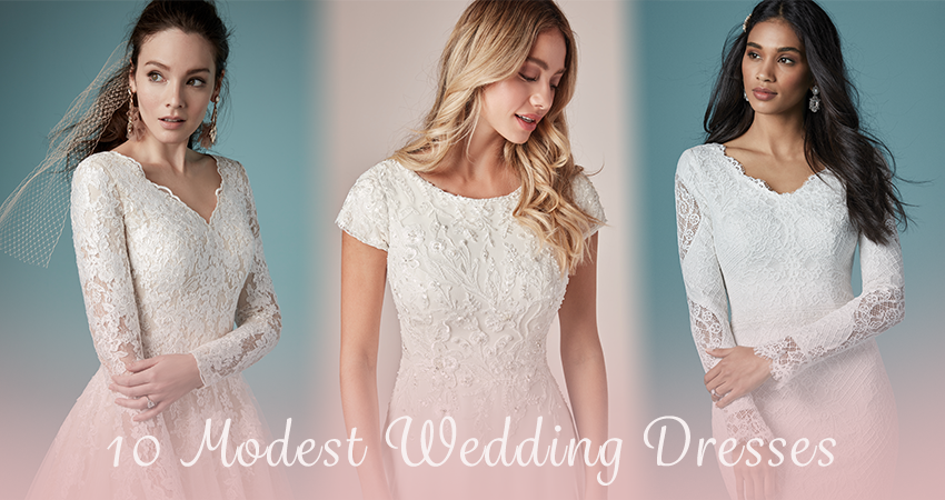 Collage of Modest Wedding Dresses by Maggie Sottero with text overlay