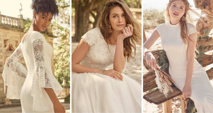 Collage of Three Brides Wearing Romantic Modest Wedding Dresses by Maggie Sottero