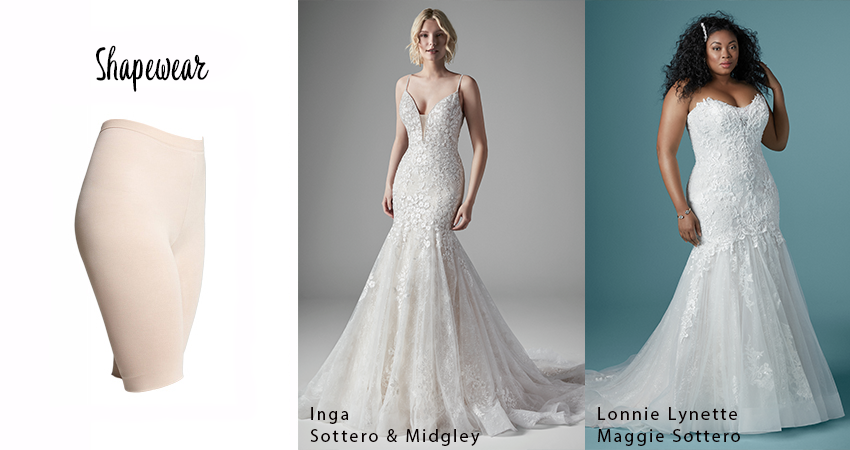 Collage of Mermaid Wedding Dresses with Shapewear Undergarments