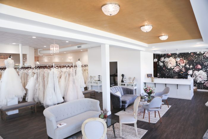 Plus Size Bridal Boutique with Couches and Wedding Dresses on Hangers