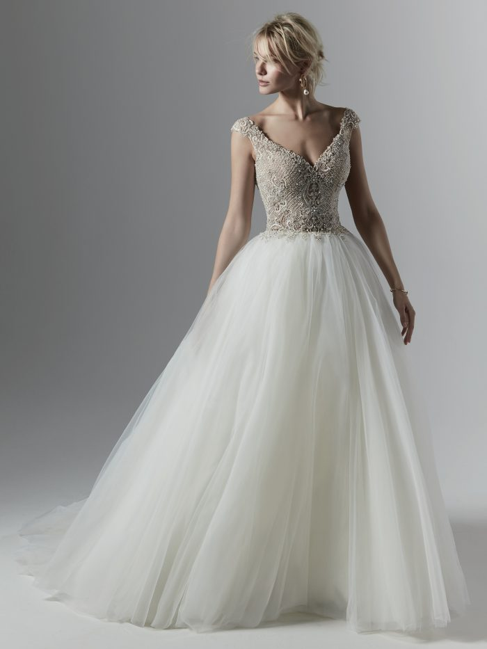 Model Wearing Sparkly Tulle Ball Gown Called Owen Louise by Sottero and Midgley