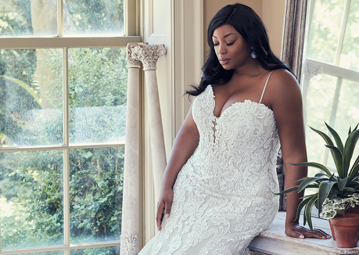 Plus Size Model Wearing Plus Size Wedding Dress Alistaire Lynette by Maggie Sottero