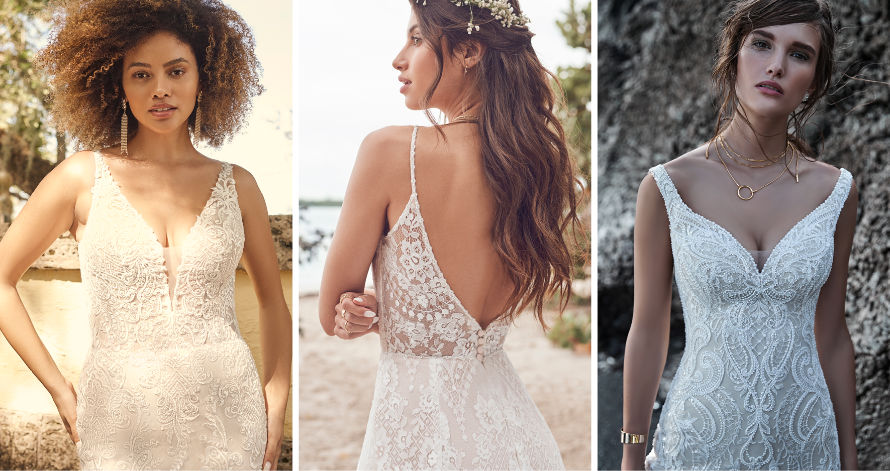 Three Brides Wearing Vintage Lace Wedding Dresses by Maggie Sottero