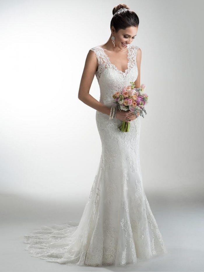 Model Wearing Sheath Wedding Dress from 2013 by Maggie Sottero