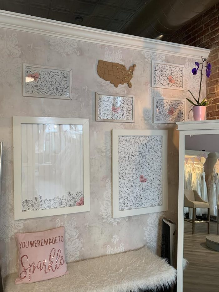 Images of Hearts on Wall of Simply Blush Bridal Boutique