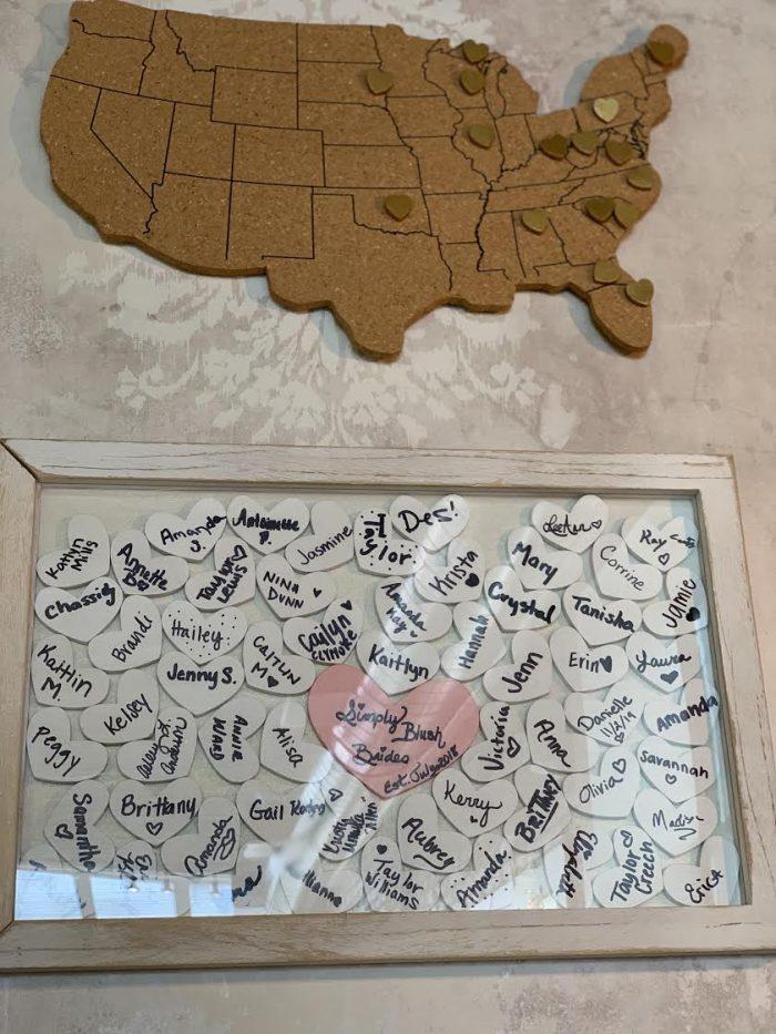 Image of Map on Wall at Simply Blush Bridal