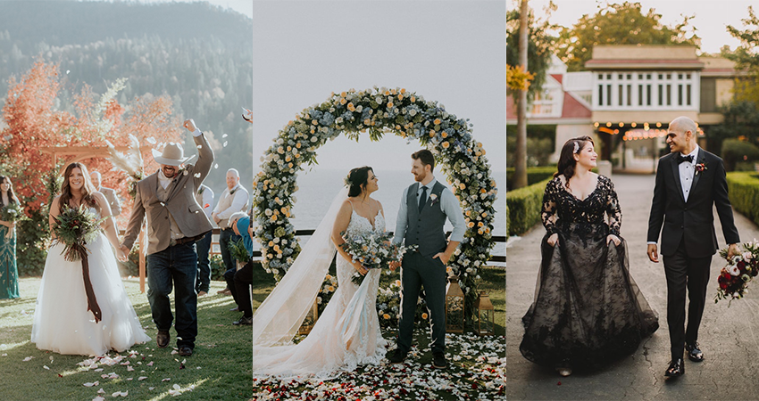 Collage of Real Curvy Brides at Their Weddings with Their Grooms