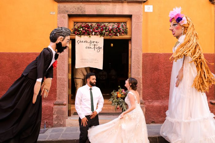 Groom with Real Maggie Bride with Mexican Mojigangas