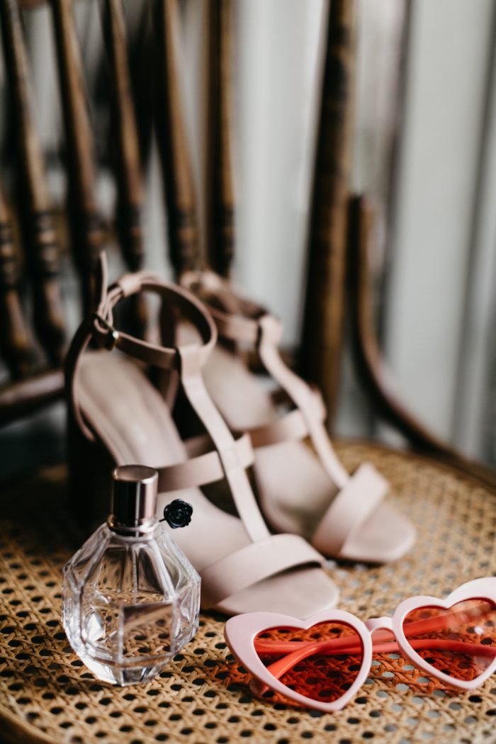 Pink Wedding Shoes and Heart Glasses