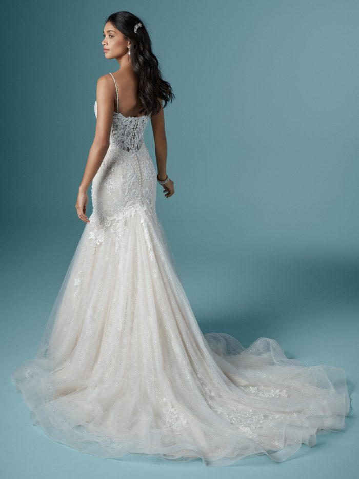 Model Wearing Lace Mermaid Wedding Gown Called Lonnie by Maggie Sottero