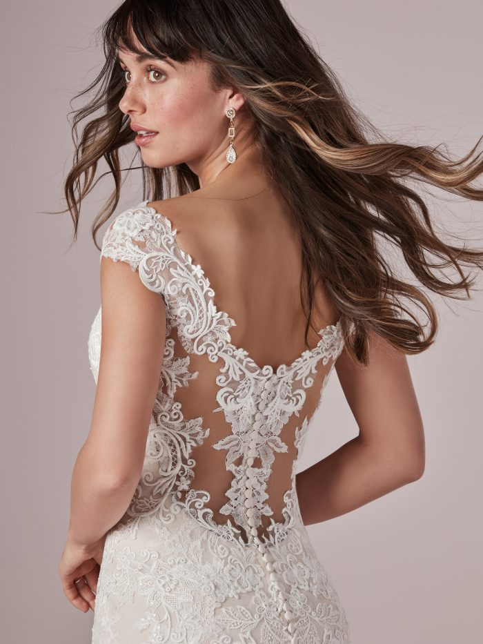 Model Wearing Romantic Wedding Gown Called Daphne by Rebecca Ingram