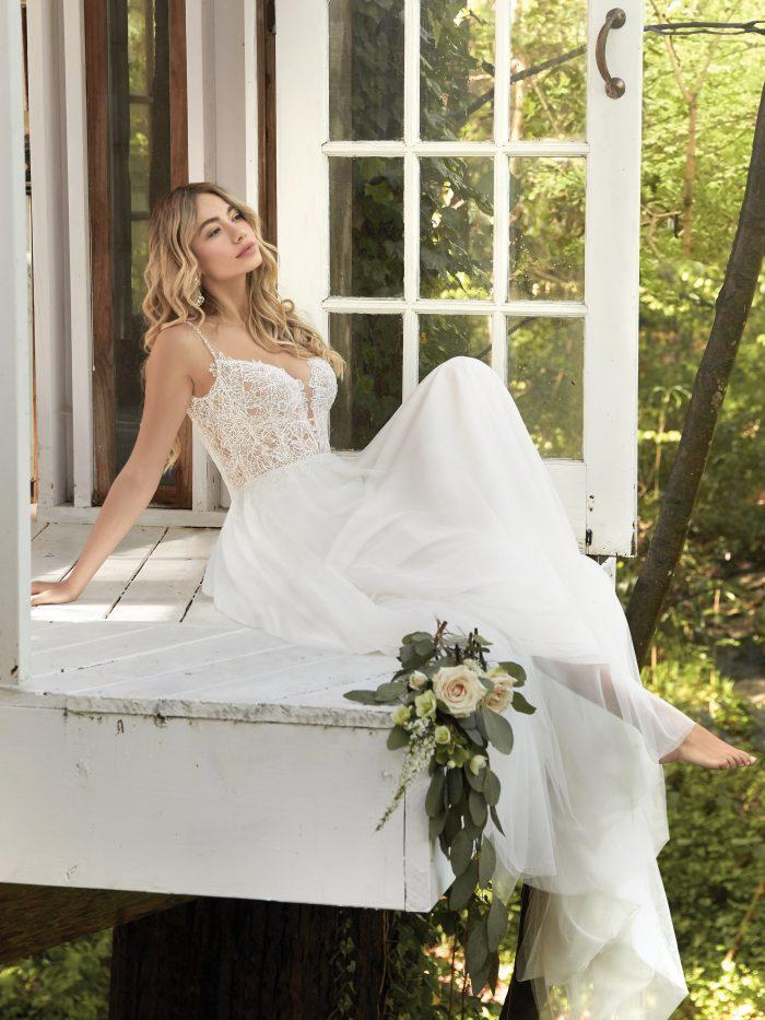 Bride Wearing Boho Wedding Dress with Detachable Bows on the Straps Called Greta by Rebecca Ingram