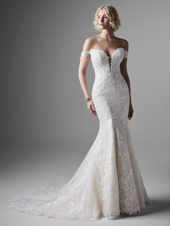 Model Wearing Lace Mermaid Wedding Gown with Detachable Off-the-Shoulder Straps Called Collin by Sottero and Midgley