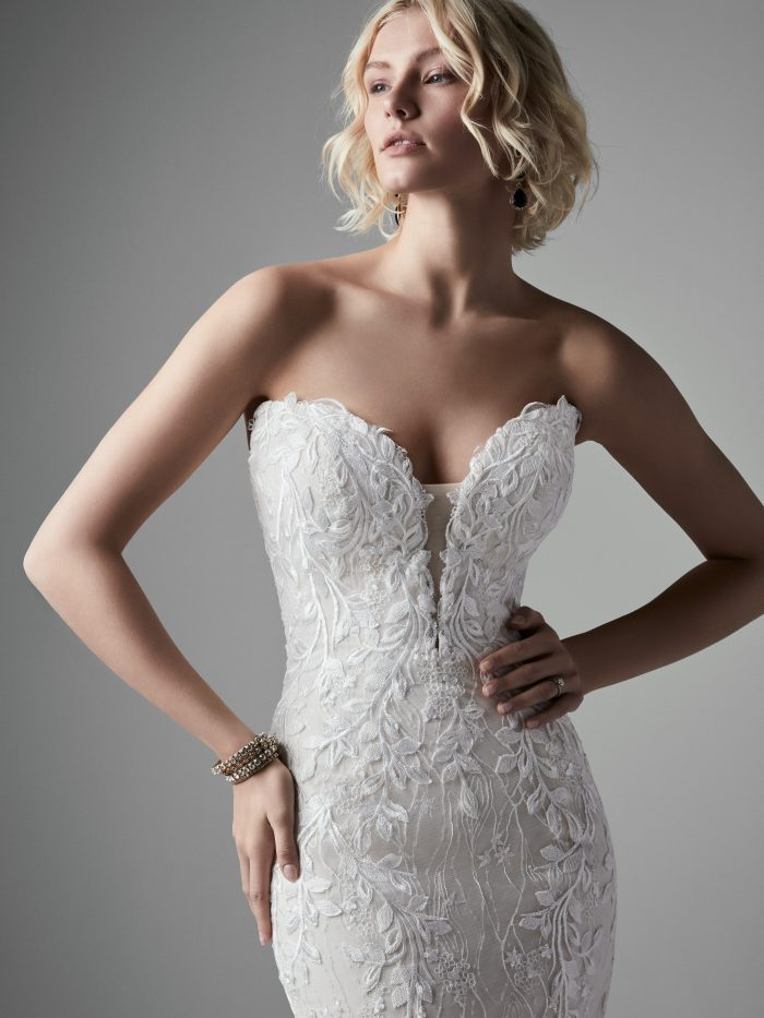 Model Wearing Mermaid Wedding Dress for an Hourglass Figure Called Collin by Sottero and Midgley
