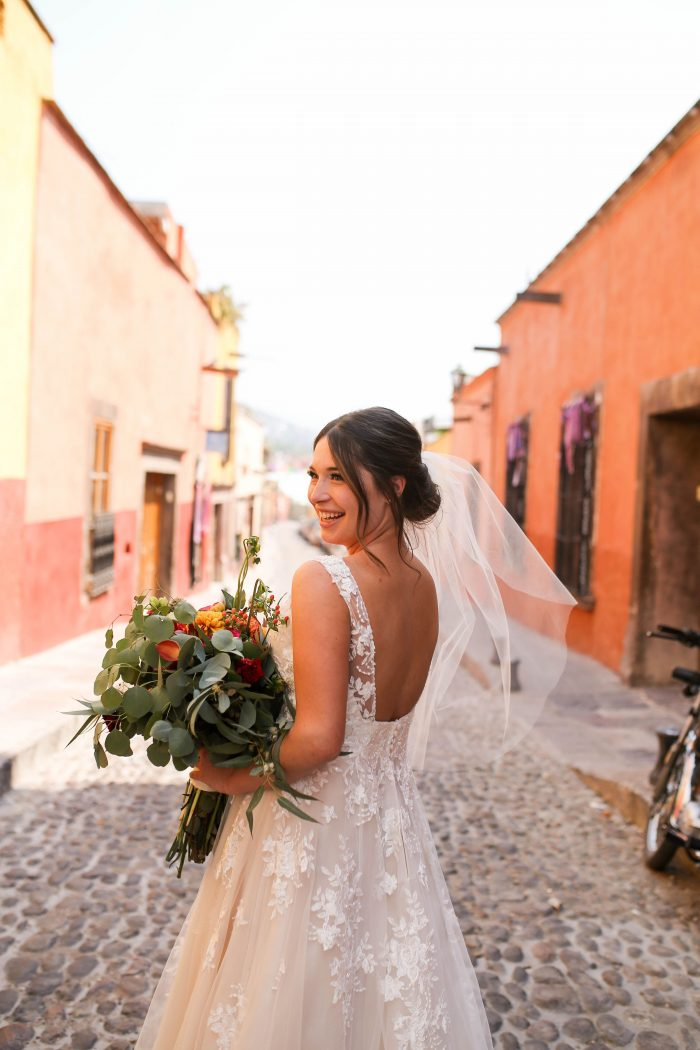 Real Bride Wearing Wedding Dress Called Meryl by Maggie Sottero at real Mexican wedding