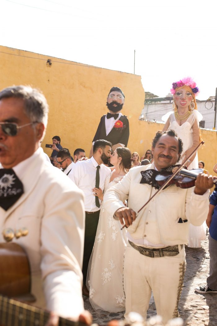 Mariachi Band with Mojigangas in Wedding Party