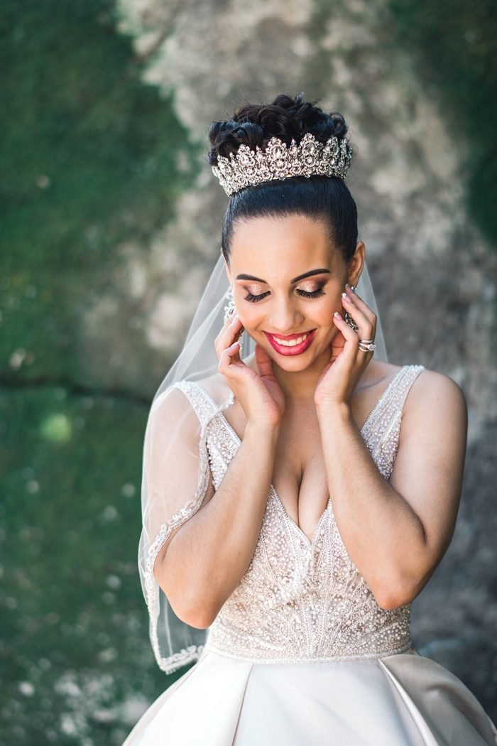 Real Bride Wearing Ballerina Bun with Crown and Princess Wedding Dress Called Mylene by Maggie Sottero