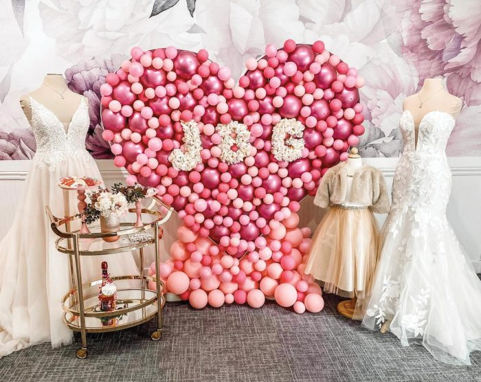 Bridal Boutique Window Display of Hearts
