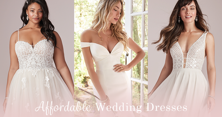 Collage of Affordable Wedding Dresses by Rebecca Ingram