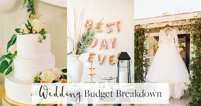 Collage of a Wedding Cake and Wedding Dress as Part of a Wedding Budget Breakdown