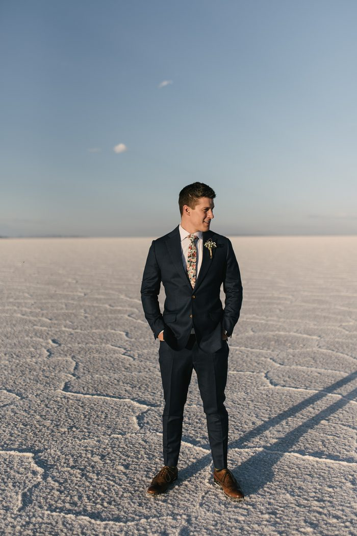 Real Groom Wearing Wildflower Tie and Blue Suit