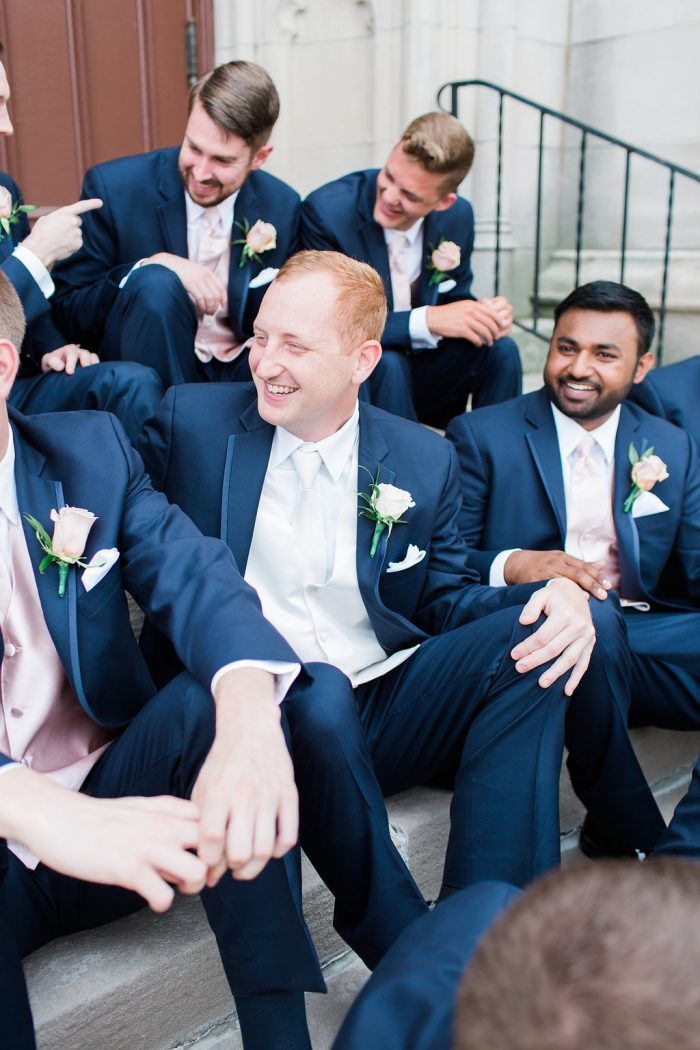 Real Groom and Groomsmen Wearing Classic Blue Suits at Real Wedding