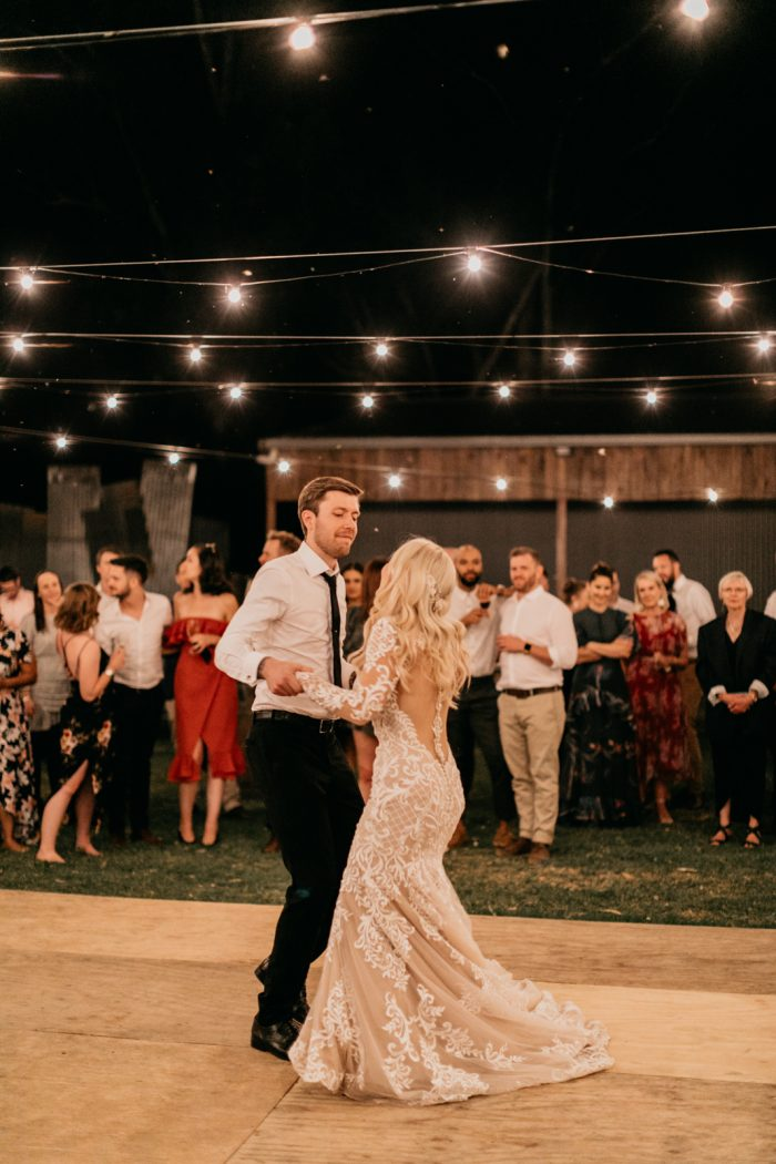 Real Bride and Groom Dancing During First Dance Song at Wedding