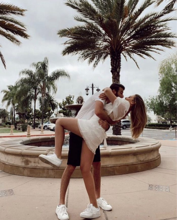 Michelle Ray Kissing Her Husband in Park