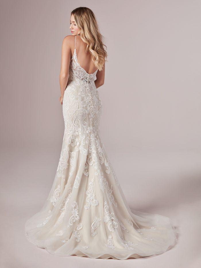 Model Wearing Beach-inspired Sheath Wedding Dress Called Adelaide by Rebecca Ingram