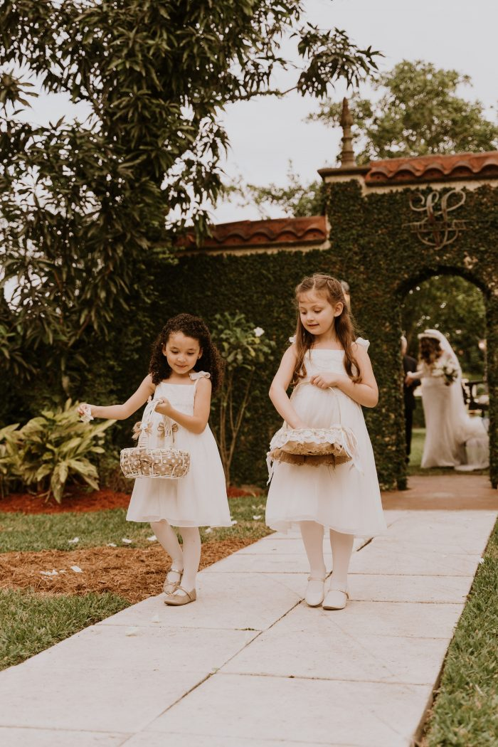 Flower Girls Walking in Wedding Procession