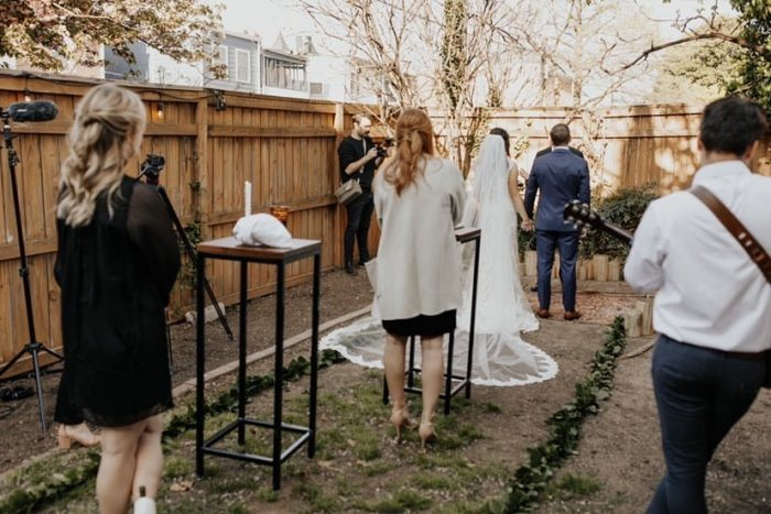 Real Bride and Groom at Virtual Wedding in a Backyard with their Vendors