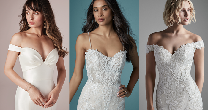Collage Brides Wearing of Sweetheart Neckline Fit-and-Flare Wedding Gowns by Maggie Sottero