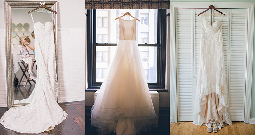 Collage of Wedding Dresses by Maggie Sottero Hanging at Home