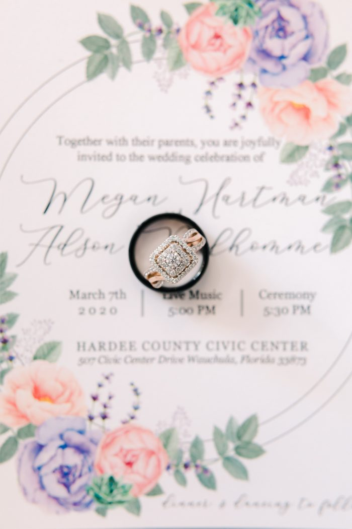 Spring Wedding Invitations Featuring a Diamond Engagement Ring