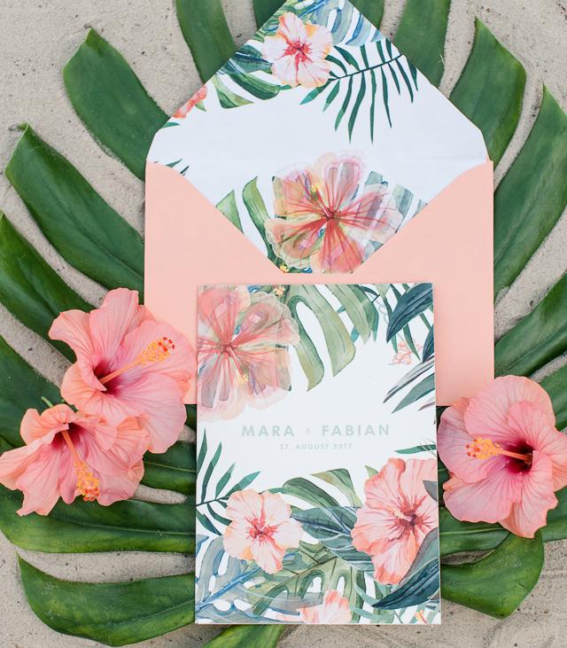 Hawaiian Theme Wedding Invitations